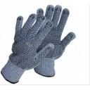 Cimdi tekstila 369 ar PVC punktējumu abās pusēs pelēki