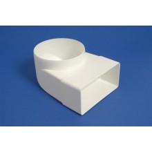 Līkums ar diametru apaļai un taisnstūra PVC ventilācijas sistēmai