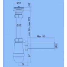 Sifons 1 1/2 L=32mm ar Taisno Cauruli L=32mm