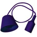 Silikona Violeta E27 spuldzes patrona ar vadu un savienojumu pie griestiem