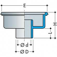 Gridas piltuve standarta modelis ar vertikālu izvadu 250x250mm