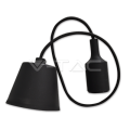 Silikona Melna E27 spuldzes patrona ar vadu un savienojumu pie griestiem