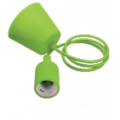 Silikona Zaļa E27 spuldzes patrona ar vadu un savienojumu pie griestiem