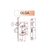 Slēdzene-480 OLGA cinkota ar rokturi, uzliktni un serdeni-DB